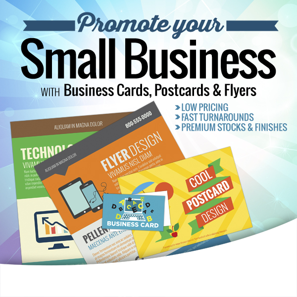 Business with Business Cards, Postcards and Flyers