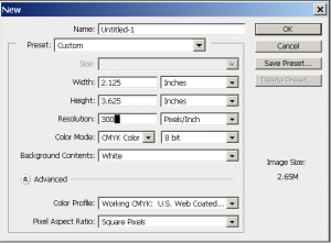 Photoshop configuration for print files